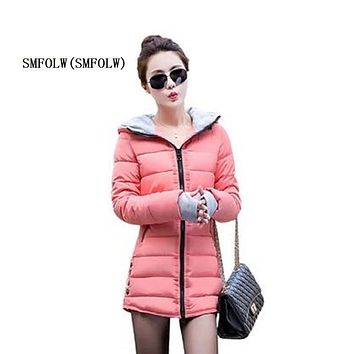 SMFOLW New Womens Celebrity Winter Coat Women Down Jacket Women Plus Size Hooded Parkas Coats Cotton Quilted Padded Slim Jackets