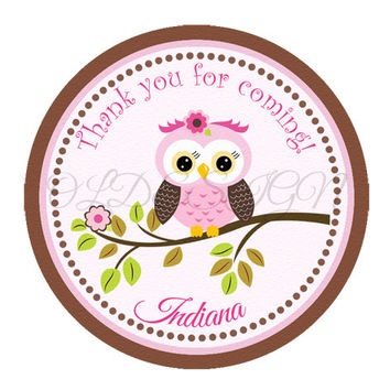 Girl Owl birthday sticker . 2 Inch Circles. Stickers, Cupcake Topper, Tags,Digital file