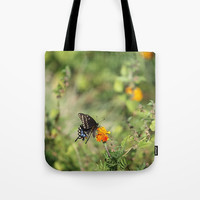 Black Swallowtail In The Garden Tote Bag by Theresa Campbell D'August Art