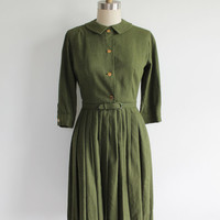 Vintage 50s Olive Green Raw Silk A-Line Shirtdress | small 4