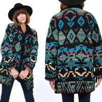 Vtg 80s Black Southwestern TRIBAL Cotton Indian Blanket Jacket Oversized Coat M