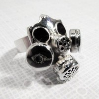 Gas Mask Ring, Science Fiction Hazmat Steampunk Apocalypse Bioshock