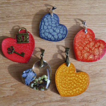 Heart pendant Red pendant Yellow pendant Blue pendant Color pendants Handmade jewelry Best gift for her Heart key pendant Unusual gift