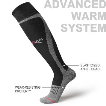 MUSAN Wool Ski Socks ,Extra Warm Knee High Performance Snow Skiing /Snowboard Socks in Outdoor,Fit for Men and Women, Black, Size:L