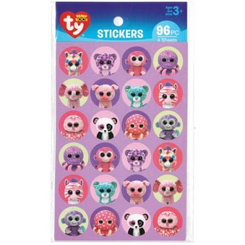 Ty Beanie Stickers~ by Darice ~ 96 Stickers Total ~ Ty Beanie Babies Choose from Beanie Boos Girl ~ Beanie Boos Jungle ~ Beanie Boos Pets