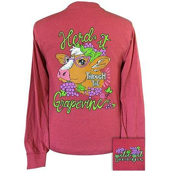 Girlie Girl Originals Preppy Herd It Through Grapevine Cow Long Sleeve T-Shirt