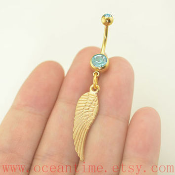 Belly Button Rings,feather belly button ring,gold feather Navel Jewlery,friendship belly ring,bff gift,oceantime