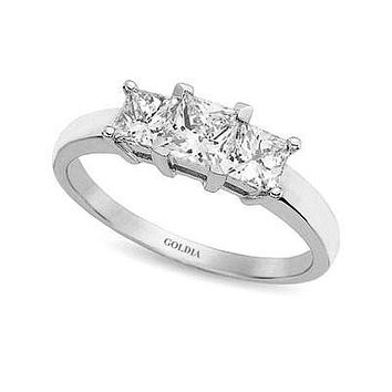 1 1/2 ct. Princess Cut Diamond White Gold Three-stone Engagement Ring