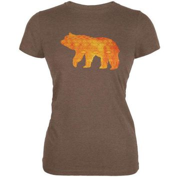 CREYCY8 Native American Spirit Bear Heather Brown Juniors Soft T-Shirt