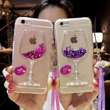 For iPhone 8 7 X Luxury Girl Woman Wine Glass Quicksand Sand Phone Case For Samsung Galaxy S8 Plus S4 S6 S7 Edge Note 8 3 5 Case