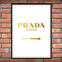2 background Prada Marfa Wall Art, Gold Fashion Print, Fashion Logo, Gold black and white Fashion Poster, Fashion Art, Modern Wall Art *16*