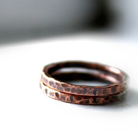 Copper Stacking Rings, Stackable, Earthy, Rustic Copper Bands, Your Size