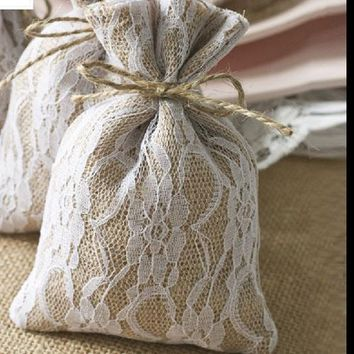 """Hessian Burlap Drawstring Pouch 10x15cm(."""""""") Rustic Country Wedding Party Favor Packaging"""