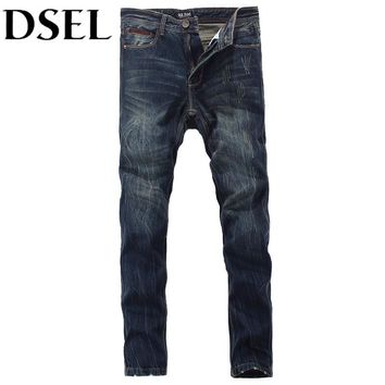 Italian Designer Men Jeans High Quality Denim Straight Fashion Stripe Jeans Men DSEL Brand Distressed Ripped Jeans Men Pants