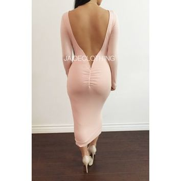 DUSTY PINK Amina Backless Long Sleeved Dress - Jaide Clothing