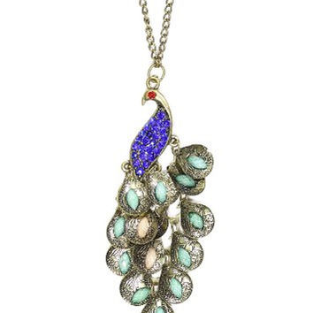 Peacock Necklace Gold Tone Vintage Blue Crystal NE12 Exotic Bird of Paradise Art Deco Chain Mail Pendant