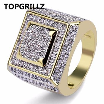 TOPGRILLZ Hip Hop Men Ring Copper Gold Color Plated Iced Out