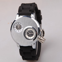 djustable Double Movement Dual Time Zone Quartz Alloy Watch Business Silicone Strap Watches Clock Hours