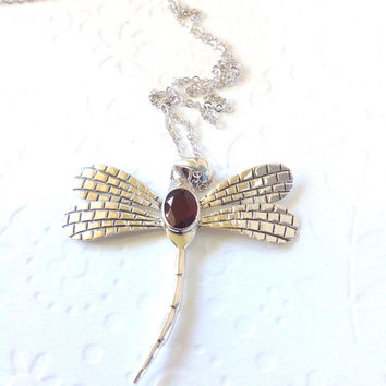 EtsyGifts, Christmas gift,Long necklace,personalized gift, Pendant necklace,Dragonfly amd garnet, gift for mom, gift for her,Bali silver 925