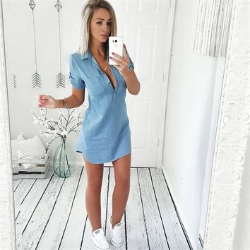 Sexy Women Denim Shirt Deep V Neck Ladies Hot Summer Clothes Wear Short Sleeve Women Long Style Shirt Casual Tops