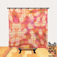 BOHO, Chic, Custom, Pinks, Printed, Fabric, Shower Curtain, Bath Decor, Home Decor, Funky, Abstract, Art, by Ingrid Padilla