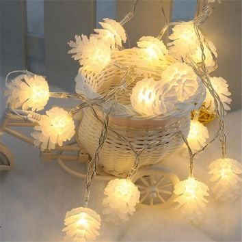 4M 20leds Colorful Modeling LED String Pinecone Flashing Christmas Lights Garlands for Holiday Party Wedding Decoration