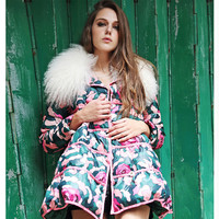 Europe New Women Fashion Winter Coat Elegant Fur collar Printed Cloak Loose Coat Leisure Thick Warm Duck down Down jacket G2305