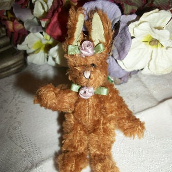 "Bunny Rabbit Stuffed Plush Animal Miniature 4"" Brown Bunny Craft Supply Easter Basket Stuffer Home Decor"