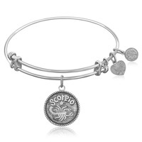 Expandable Bangle in White Tone Brass with Scorpio Symbol
