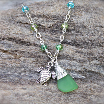 Sea Turtle Anklet - Hawaiian Jewelry - Sea Glass Jewelry from Hawaii - Sea Glass Anklet - Sea Turtle Jewelry - Hawaiian Honu Ankle Bracelet