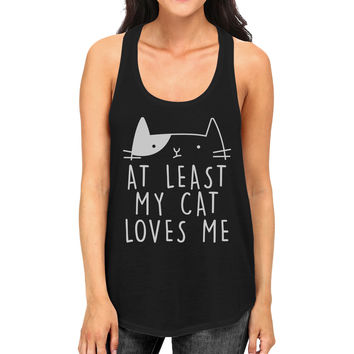 At Least My Cat Loves Women's Sleeveless Tank Top Cat Graphic