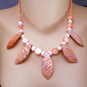 Mother Of Pearl Leaf Design, Pearls and Salmon Coral Necklace and Earrings
