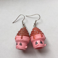 Shopkins Foodie Earrings - Ice Cream Dream (pink) - repurposed toys