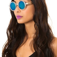 The Burbank Sunglasses in Mirror Blue Lens & Gold