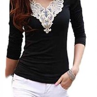 Amoin Fashion Elegant Lace Shirts Short Sleeve Women's Tops Blouses Work OL Career