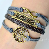 Infinity bracelet,Bestfriend bracelet,Wish tree Bracelet,Gray Wax Cords Brown Leather Braid,friendship gift