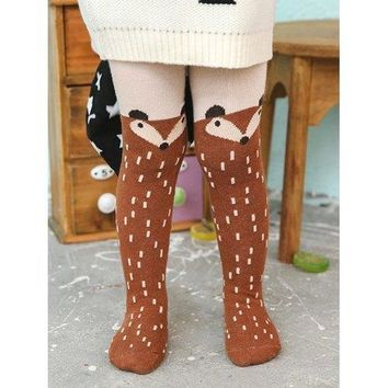 Cartoon Fox Print Kids Stockings - Brown 90