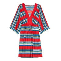 Women's Cotton Mid-length Caftan Cover-up - Schooner Stripe from Lands' End