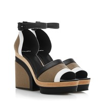 Pierre Hardy Khaki Leather And Linen Platform Sandals