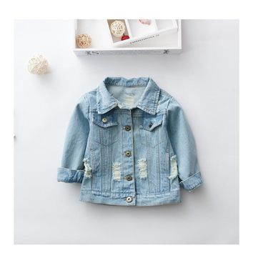 Trendy Girls Denim Jackets Kids Long-Sleeved Denim Jackets for Girl Baby Embroidered Denim Coat Clothing Spring Summer Fashion AT_94_13