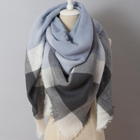 Piper Plaid Scarf in Blue & Grey