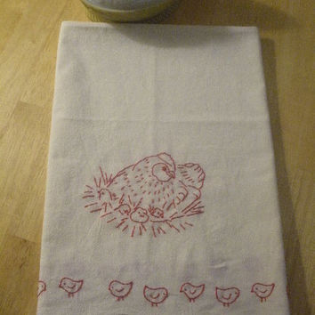 Redwork Chicken Flour Sack Dish Towel