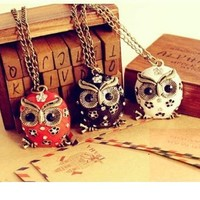 OASAP - Rhinestone Embellished Owl-shaped Pendant Necklace - Street Fashion Store