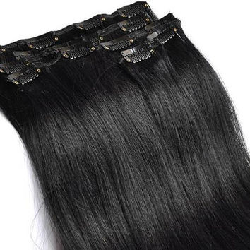 Malaysian virgin human hair extensions,16 inch black remy clip in human hair extensions,jet black human remy hair weave,full head extensions