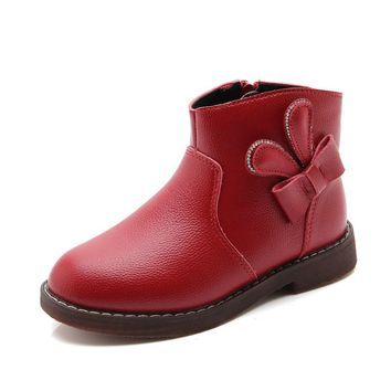 2017 Autumn Winter New Fashion Children's Shoes Girls Genuine Leather Bowknot Zipper Kids Shoes  Red  Black Martin Boots