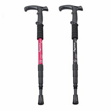Shock Walking Sticks Telescopic Trekking Hiking Mountaineering Canes Crutch New