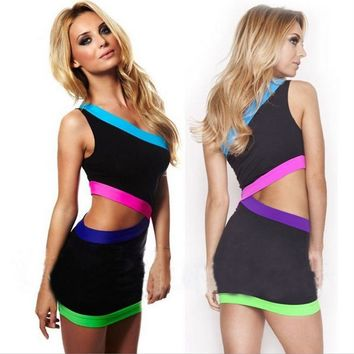 Female Fashion Shoulder Low-cut Waist Side Hollow Multicolor Stitching Pack Hip Mini Dress