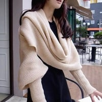 Khaki Versatile Cozy Knit Scarf with Sleeves