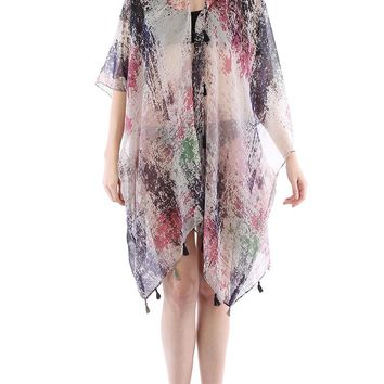 Purple Distressed Print Sheer Cover Up Poncho