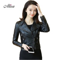 Spring Autumn Faux Leather Jacket Women 2018 New Female Cheap Motorcycle Leather Jacket Ladies Turn Down Collar Biker Pu Coats
